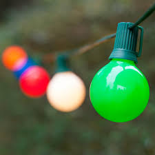 globe string lights opaque multicolor g50 bulbs green wire
