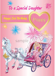 personalised barbie princess birthday card daughter granddaughter