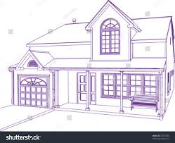 proprietary house blueprint style illustration stock vector