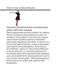 Dance Resume Template Cover Letter Dance Resume Format Dance Resume Format For College