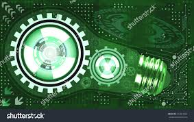 Green Shades by Abstract Technological Background Light Bulb Gears Stock Vector