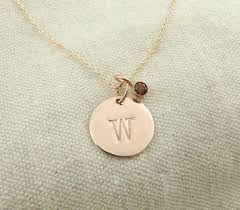 personalized initial necklaces solid 14k gold personalized initial necklace with birthstone charm