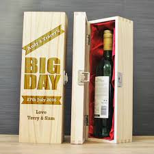 wedding gift personalised personalised wooden wine box bottle holder with satin lining