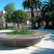 marble planter natural stone round with integrated bench