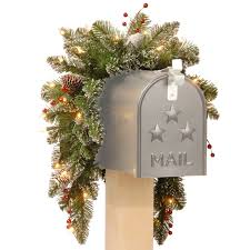 three posts pre lit spruce mailbox swag reviews wayfair
