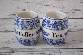 pottery kitchen canisters vintage coffee u0026 tea german set of 2 canisters white delft blue