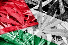 Colorado Flag Marijuana Palestine Flag On Cannabis Background Drug Policy Legalization