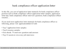 bank compliance officer application letter