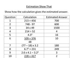 gcse maths estimation questions with answers sheet by janperr
