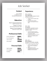 Simple One Page Resume Template Excellent Ideas Formal Resume Template Innovation Impact One Page
