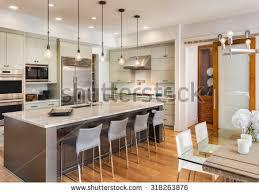 beautiful kitchen interior new luxury home stock photo 318263876