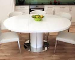 white high gloss large extending round oval dining table with 6