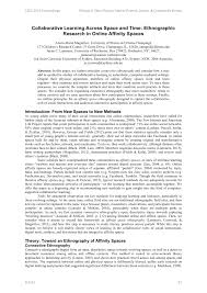 how to write an ethnographic research paper collaborative learning across space and time ethnographic collaborative learning across space and time ethnographic research in online affinity spaces pdf download available