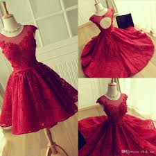 red lace prom dresses 2017 modeat jewel sheer neckline cap sleeves