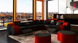 3087 modern black and red leather sectional sofa and coffee table
