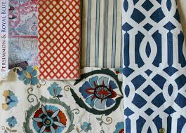 friday fabric pairing persimmon and royal blue design