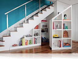 sophisticated under stair storage ideas with shelves and space