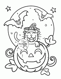 funny halloween cat and bats coloring pages for kids pumpkin