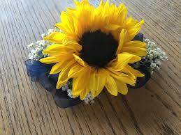 sunflower corsage prom corsage sunflower baby s breath flower arrangements
