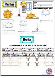 weather months days of the week u0026 seasons worksheet free esl