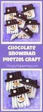 chocolate pretzel snowman craft fun winter treat