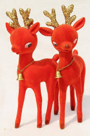 vintage christmas decorations blow mold plastic deer flocked red