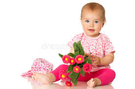 baby flowers sweet baby with flowers stock image image of pink isolated