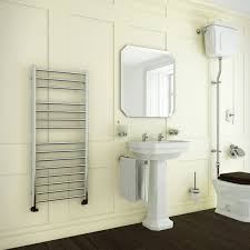 stainless steel towel rails in a traditional setting talk to