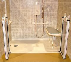 accessible barrier free wet room shower systems cleveland accessible shower accessories fold down seat grab bar and hand held shower