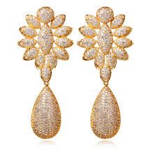 new fashion gold earrings new fashion big earring wedding party jewelry filled cubic zirconia