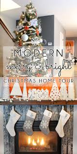 White Christmas Tree With Orange Decorations by Decorating With Style Christmas Home Tour Part 2 Blue I Style