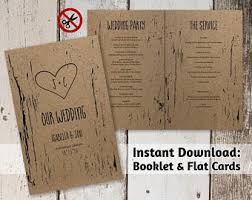 kraft paper wedding programs other wedding templates instant invitation