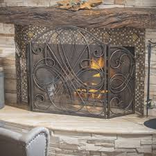 fireplace tri fold fireplace screen nice home design top and