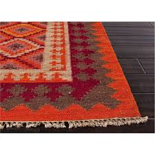 Jaipur Area Rugs Jaipur Rug10019 Anatolia Flat Weave Tribal Pattern Wool Orange