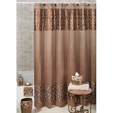 bathroom shower curtain ideas brown shower curtains with small tile pattern combined with white