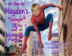 spiderman personalized photo birthday invitation 2012 1 19