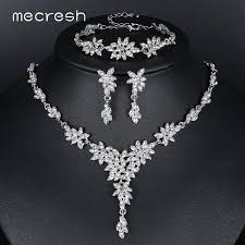 bridal necklace earring images Mecresh leaf crystal wedding jewelry sets for women silver color jpg