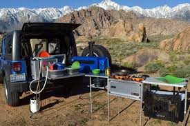 camping jeep wrangler any suv becomes part camper with this portable kitchen for your