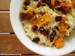 roasted pumpkin orzo with goat cheese and cranberries or
