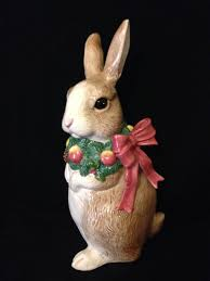 vintage fitz and floyd ceramic easter or christmas bunny 1991