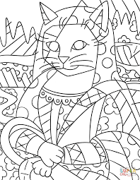 mona cat by romero britto coloring page free printable coloring