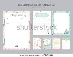 cute daily planner template note paper stock vector 473483344