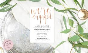 Engagement Invitation Cards Images Rose Gold Engagement Invitation Template Download Instant