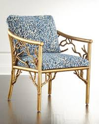 Blue And White Accent Chair Tree Motif Base Blue Patterned Seat Accent Chair