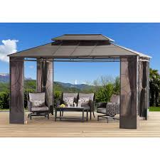 Pergola Gazebo With Adjustable Canopy by Sunjoy Rochelle Gazebo 10 U0027 X 14 U0027
