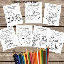 7 personalized peppa pig coloring pages digital printable