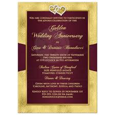 50th wedding anniversary invitation wine gold floral printed