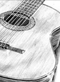 drawn guitar graphite pencil and in color drawn guitar graphite