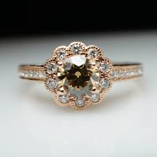 brown diamond engagement ring 1 0ctw chagne brown diamond 14k gold flower halo diamond