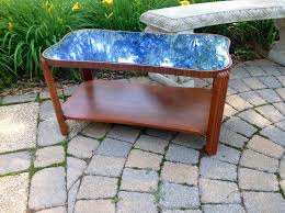 Vintage Glass Top Coffee Table Vintage Deco Modern Cobalt Blue Glass Mirror Top Coffee Table